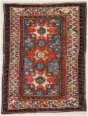 "Antique Caucasian Rug: 3'9"" x 4'11"" (114 x 150 cm)"