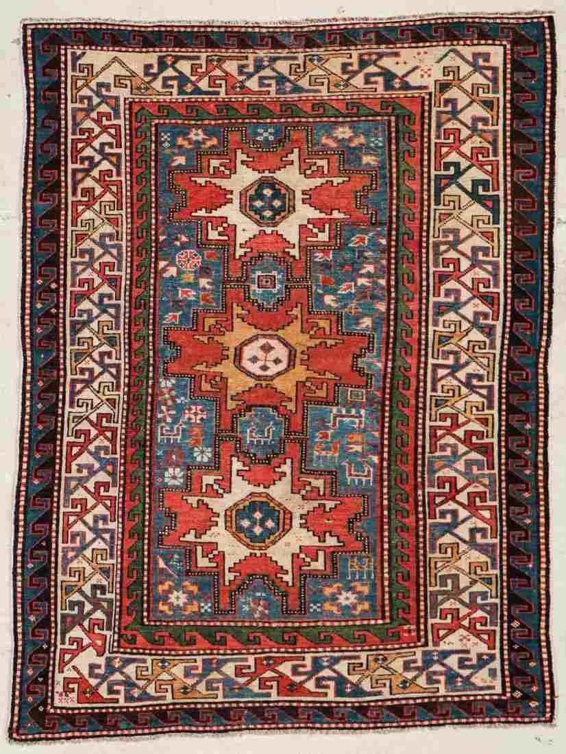 """Antique Caucasian Rug: 3'9"""" x 4'11"""" (114 x 150 cm)"""