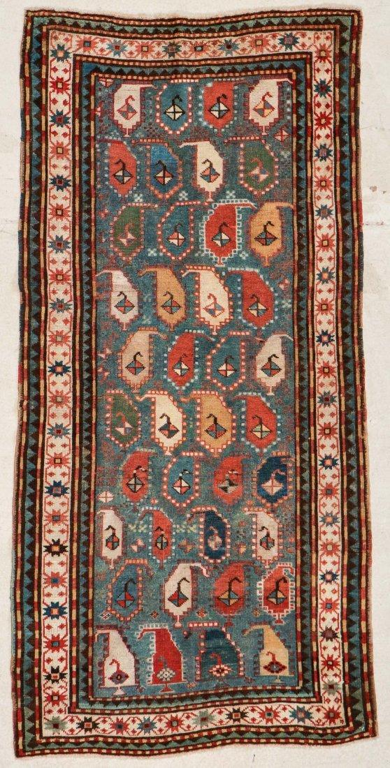 """Antique Kazak Rug: 3'5"""" x 6'11"""" (104 x 211 cm)"""