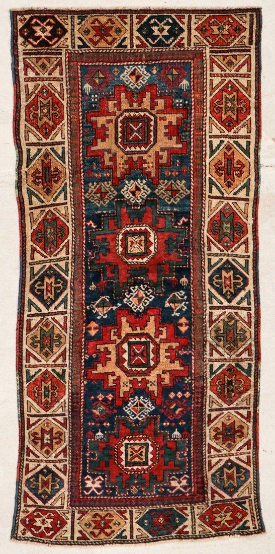 """Antique Caucasian Rug: 3'1"""" x 6'9"""" (94 x 206 cm)"""