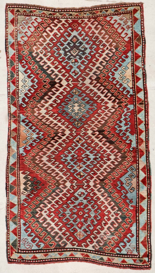 """Antique Kazak Rug: 3'10"""" x 6'11"""" (117 x 211 cm)"""