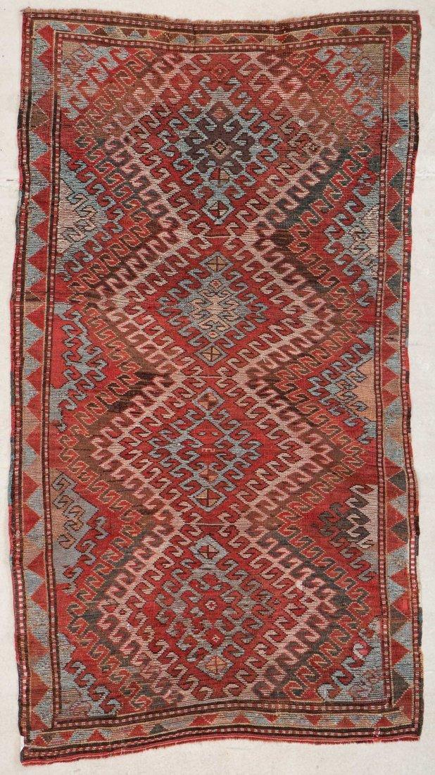 """Antique Kazak Rug: 3'10"""" x 6'11"""" (117 x 211 cm) - 6"""