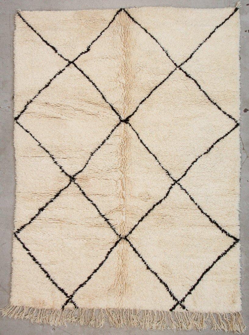 """Vintage Beni Ourain Rug: 6'2"""" x 8'2"""" (187 x 250 cm)"""