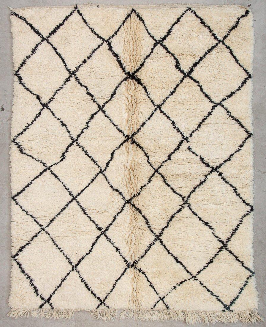 """Vintage Beni Ourain Rug: 6'3"""" x 7'11"""" (191 x 242 cm)"""