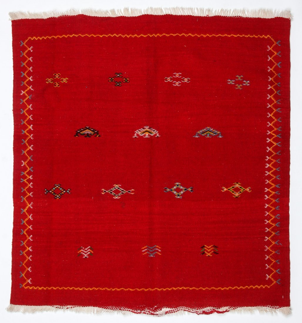 "Vintage Moroccan Kilim: 3'3"" x 3'5"" (100 x 105 cm)"