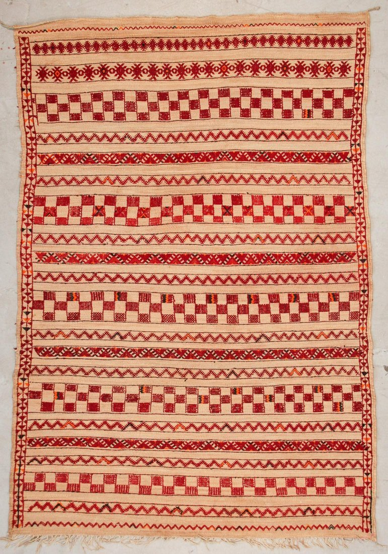 """Vintage Moroccan Mixed Weave Rug: 6'4"""" x 9'3"""" (192 x"""