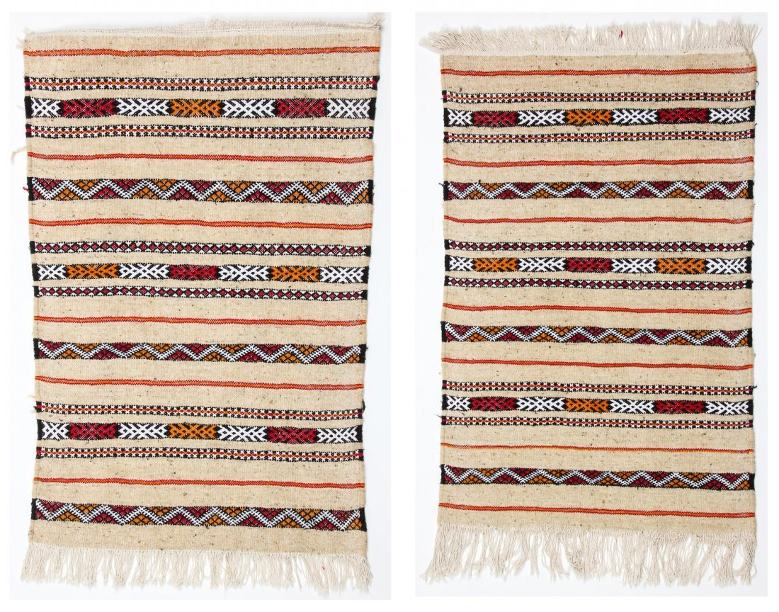 "Pair of Vintage Moroccan Kilims: 2'1"" x 3'2"" (64 x 97"
