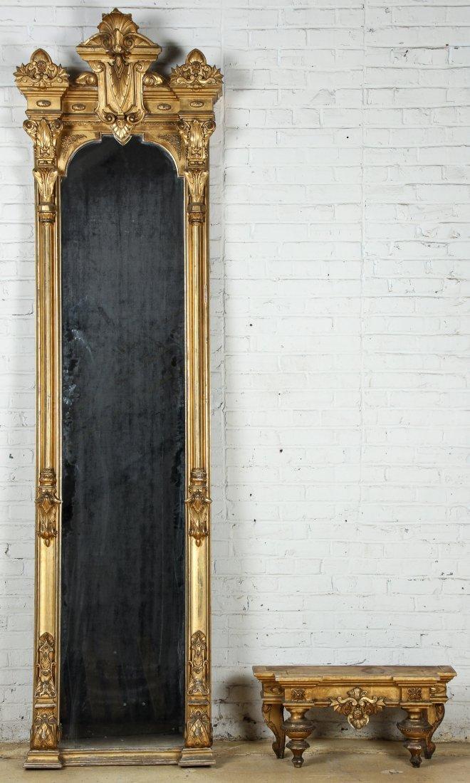 Tall Victorian Gilt Pier Mirror - 2