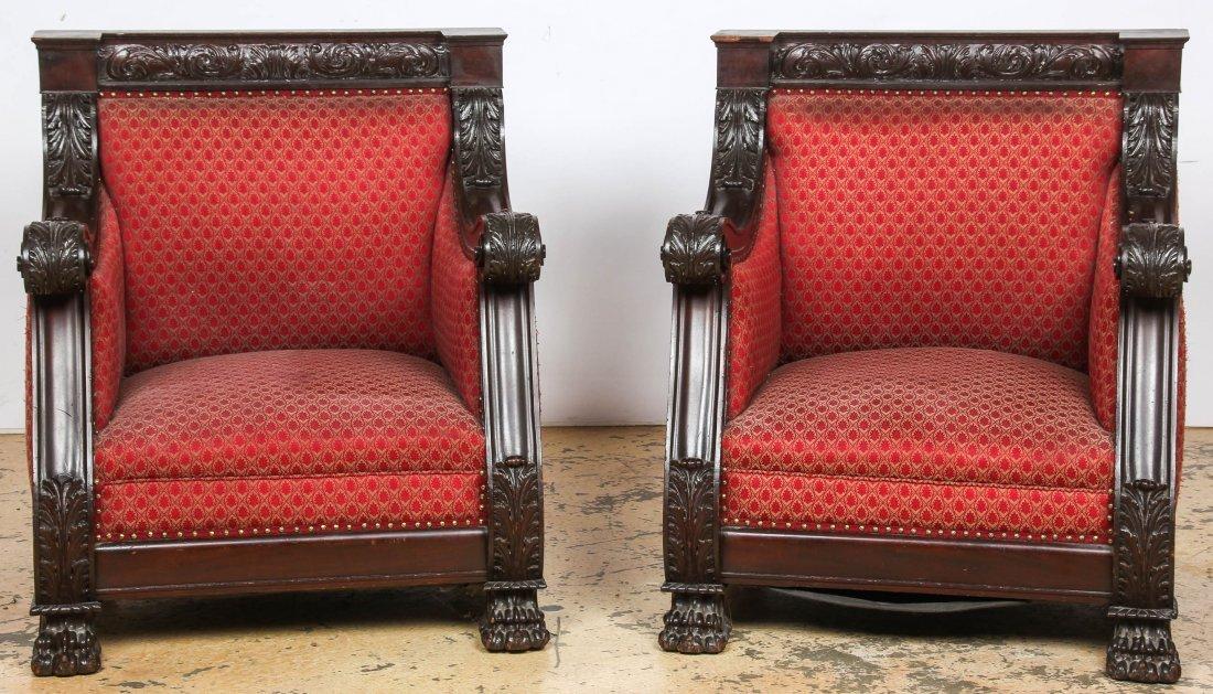 Pair 19th C Renaissance Revival Armchairs