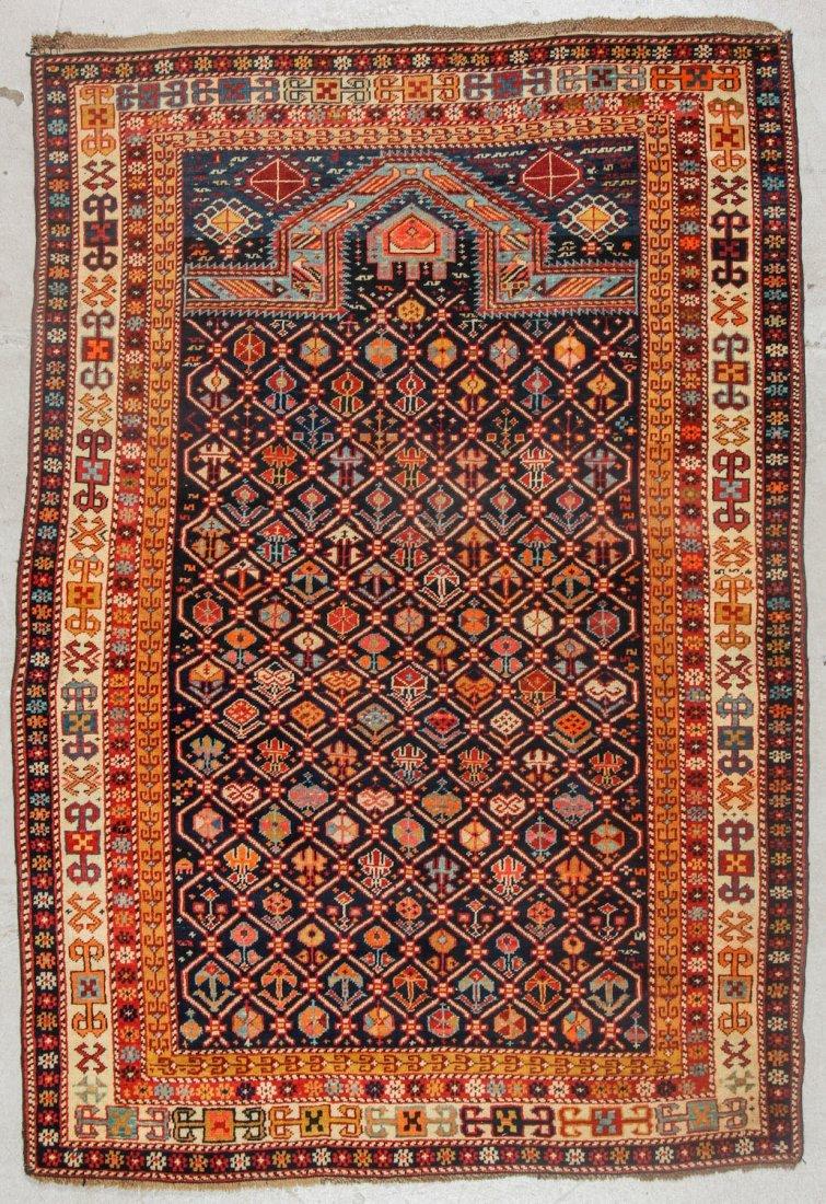 Antique Shirvan Prayer Rug: 4'1'' x 5'8'' (124 x 173