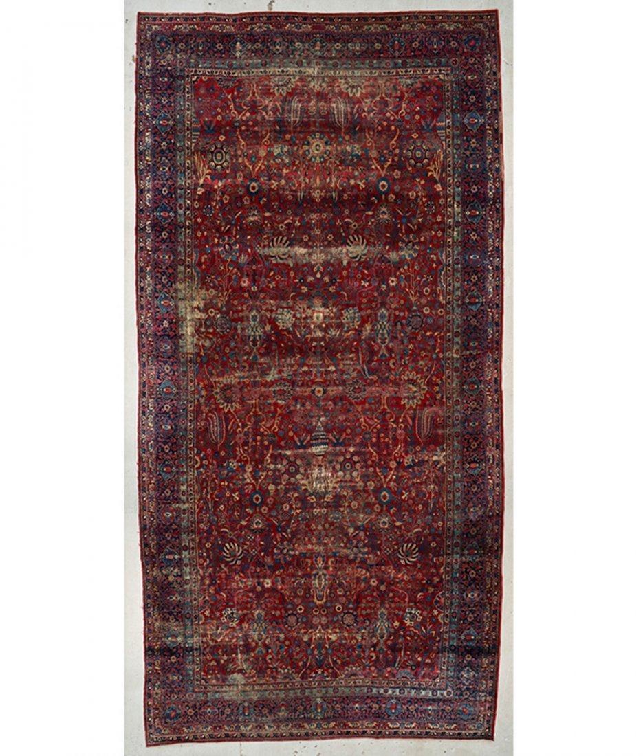 "Antique Kerman Garden ""Vase"" Carpet: 10'5"" x 20'"