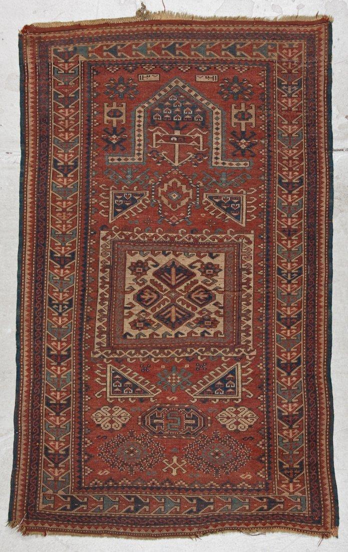 Antique Kazak Rug: 3'4'' x 5'4'' (102 x 163 cm) - 7