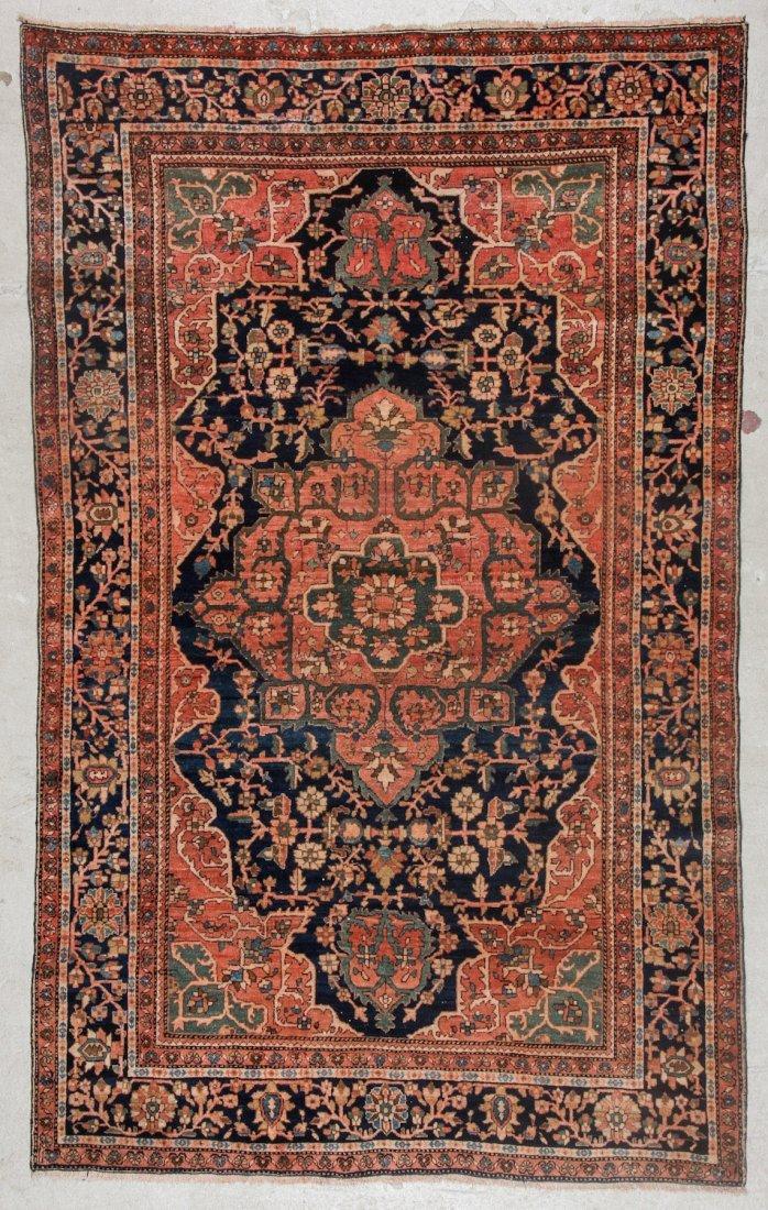 Antique Sarouk Ferahan Rug: 4'3'' x 6'9'' (130 x 206