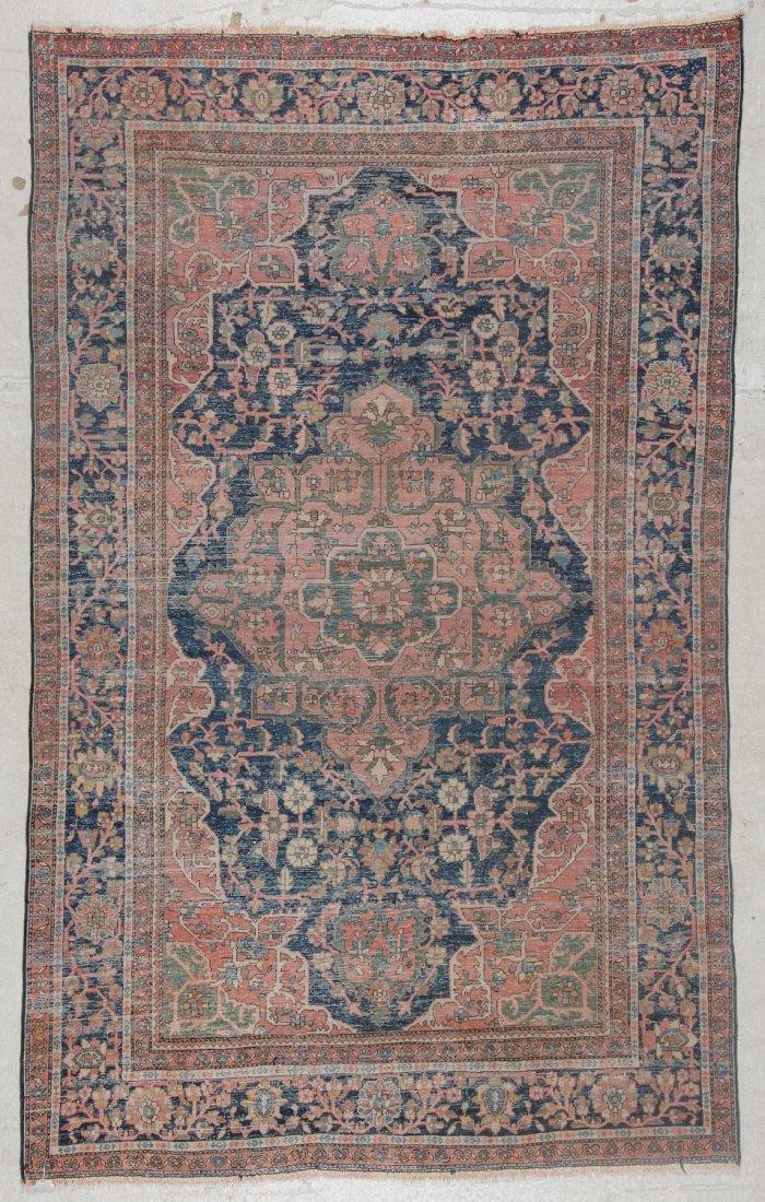 Antique Sarouk Ferahan Rug: 4'3'' x 6'9'' (130 x 206 - 6
