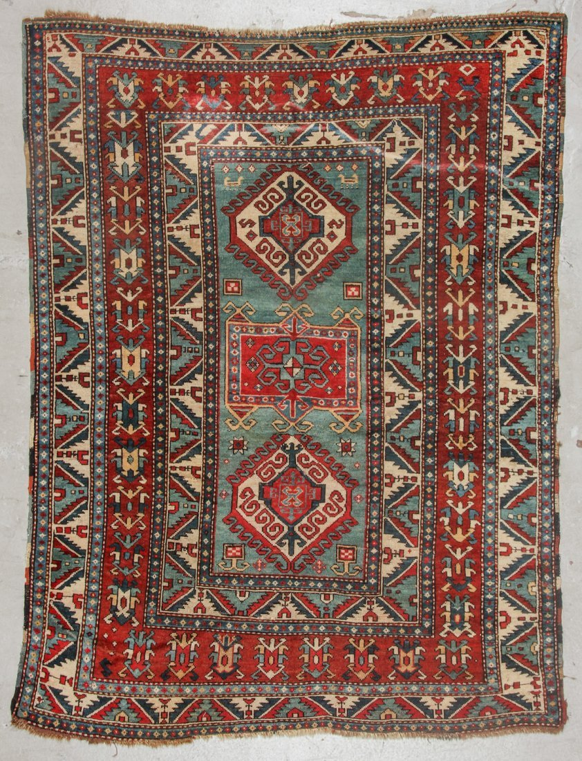 Antique Kazak Rug, 19th C: 5'6'' x 7'3'' (168 x 221 cm)