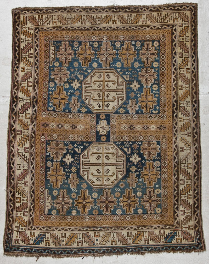 Antique Shirvan Rug: 3'11'' x 4'11'' (119 x 150 cm)