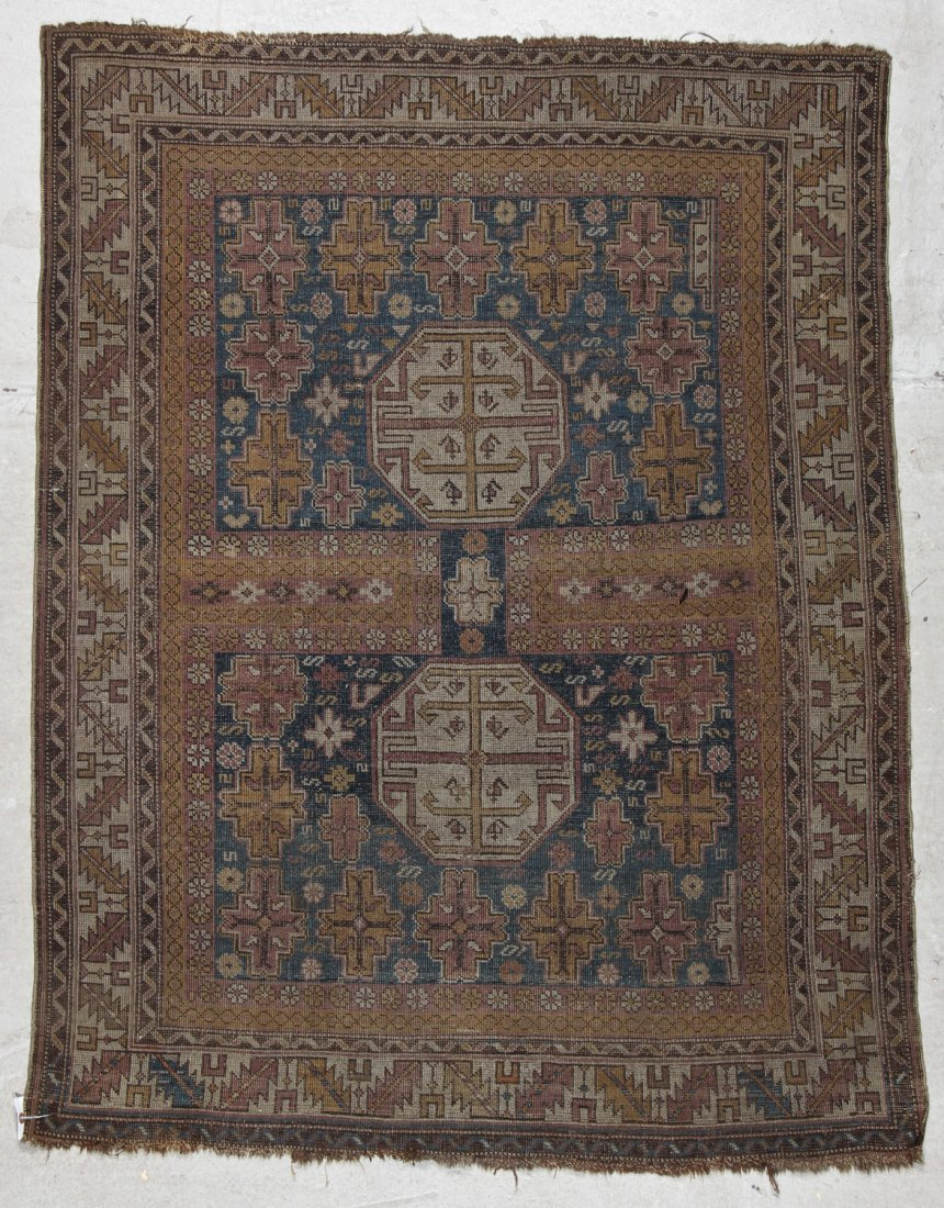 Antique Shirvan Rug: 3'11'' x 4'11'' (119 x 150 cm) - 7