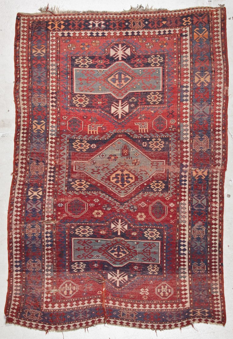 Antique Kazak Rug: 5'2'' x 7'8'' (157 x 234 cm) - 9