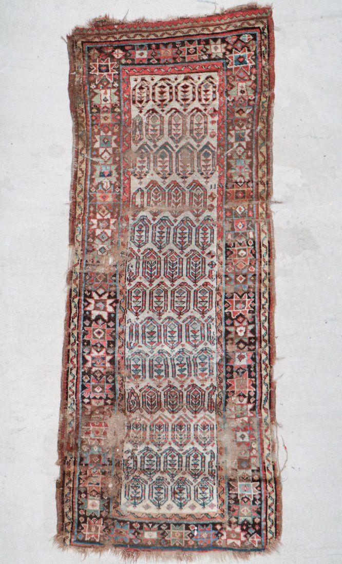 Antique Caucasian Rug: 2'9'' x 7'1'' (84 x 216 cm)