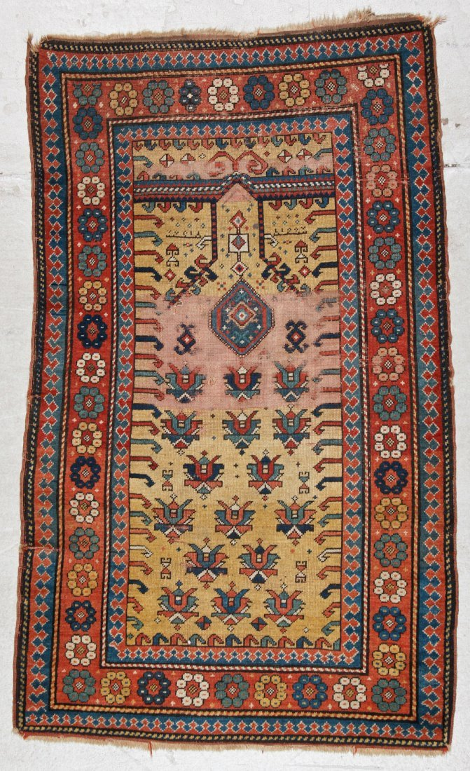 Antique Kazak Prayer Rug: 3'4'' x 5'6'' (102 x 168 cm)