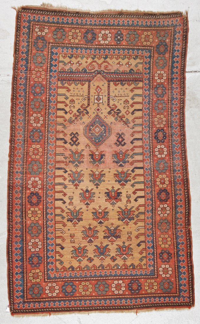 Antique Kazak Prayer Rug: 3'4'' x 5'6'' (102 x 168 cm) - 8