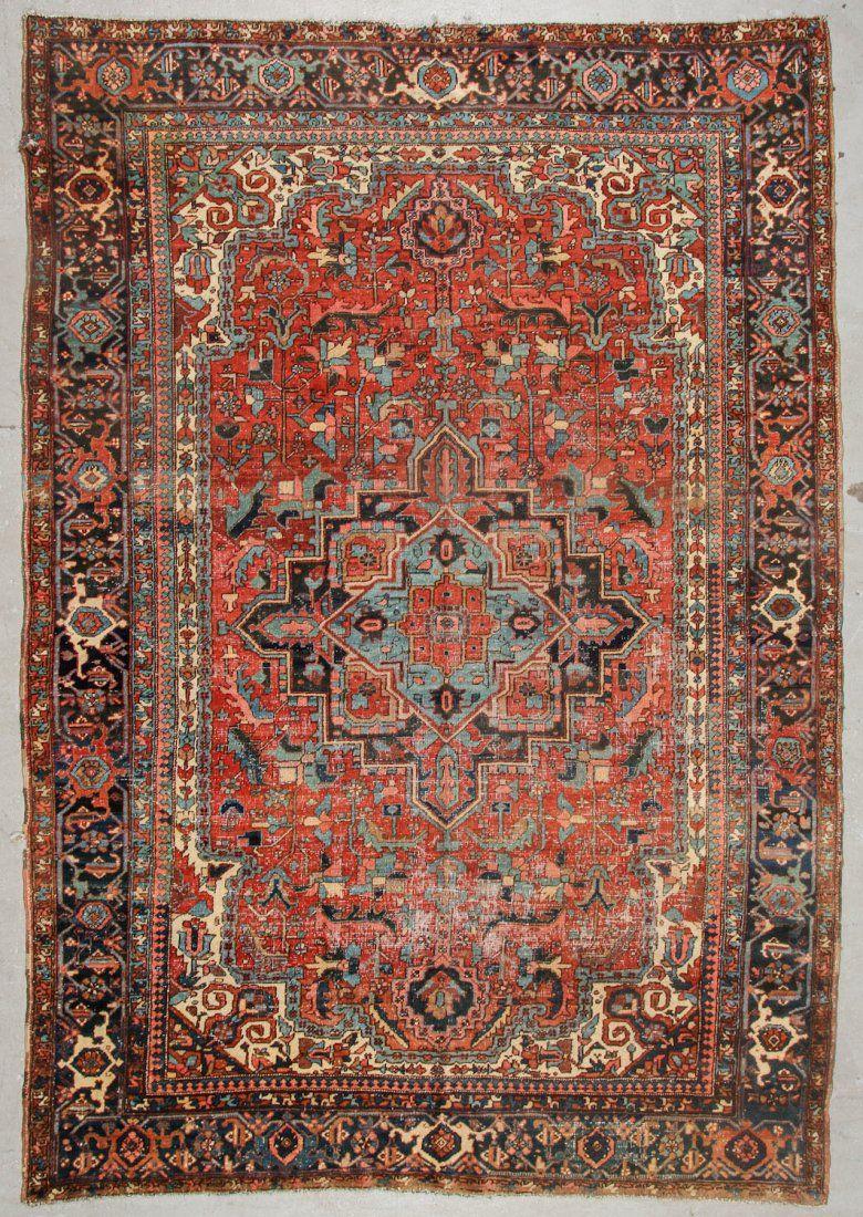 Antique Heriz Rug: 8'4'' x 12'2'' (254 x 371 cm)