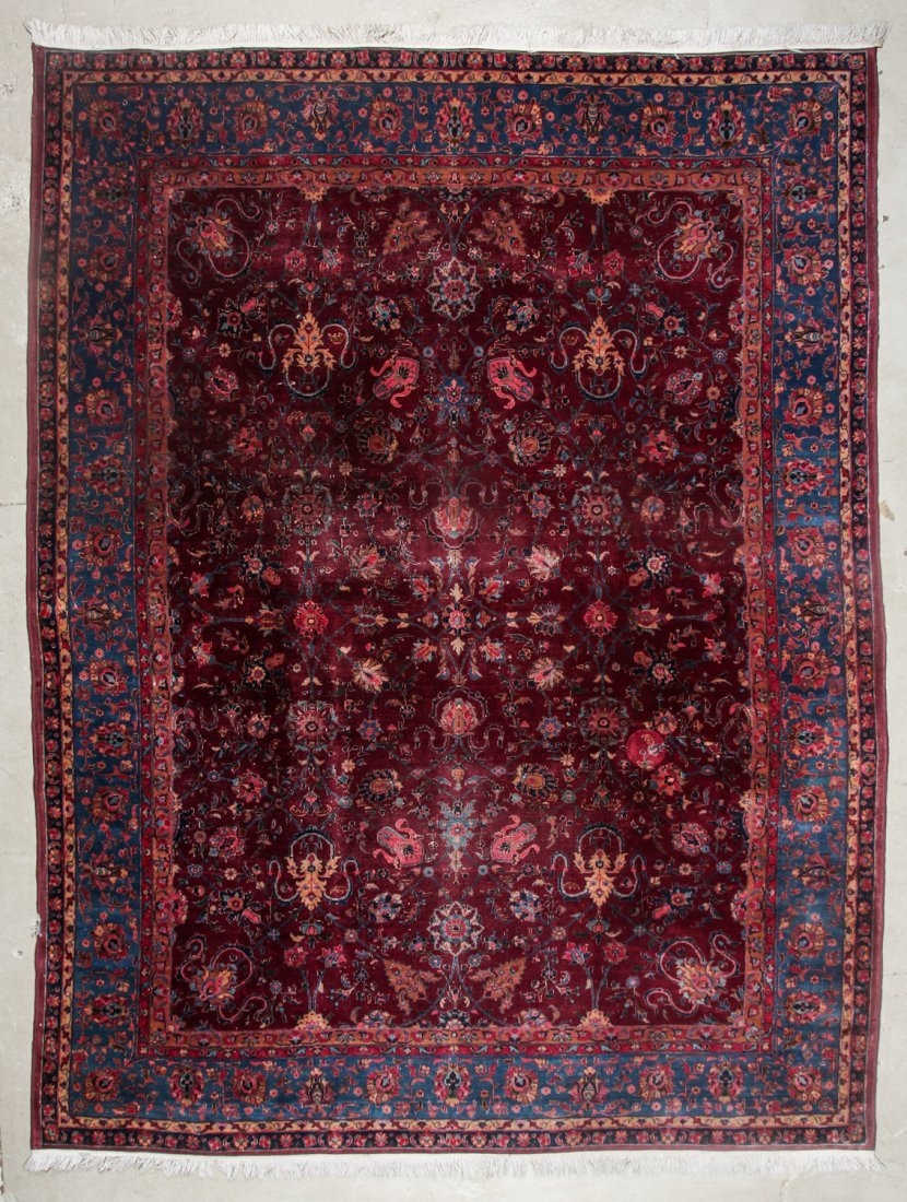Antique Kerman Rug: 9'4'' x 11'10'' (284 x 361 cm)