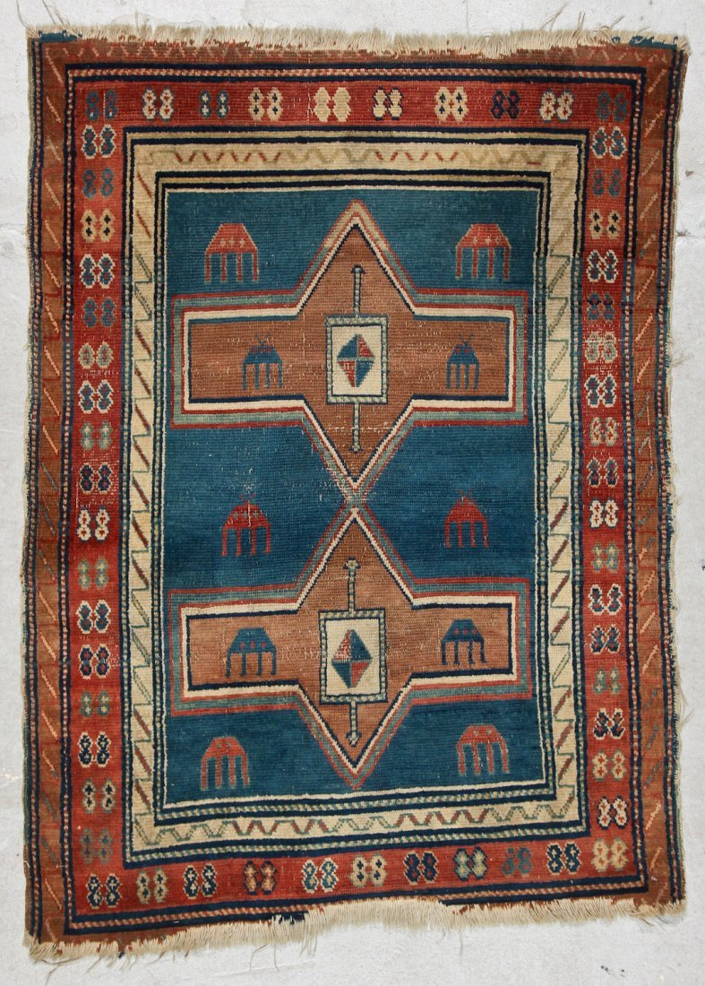 Antique Avar Rug: 3'3'' x 4'5'' (99 x 135 cm)