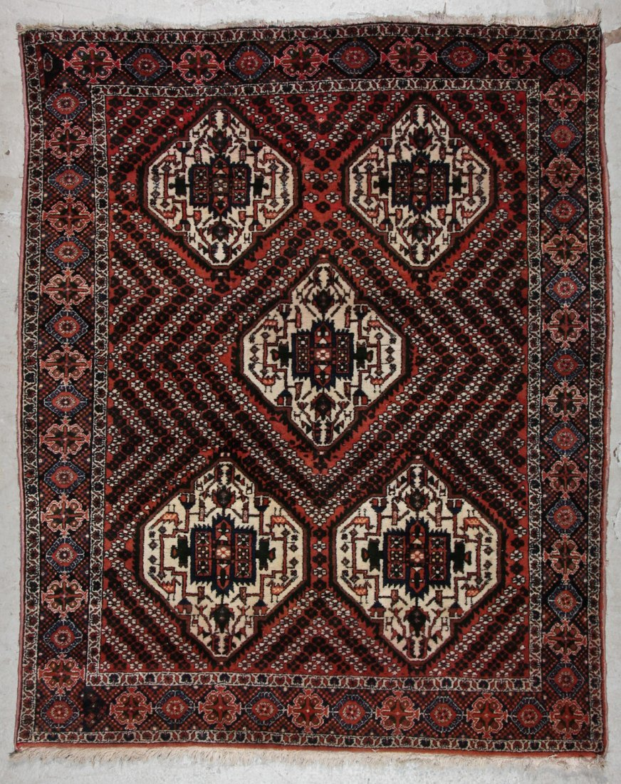 Semi-Antique Afshar Rug: 5'1'' x 6'3'' (155 x 191 cm)