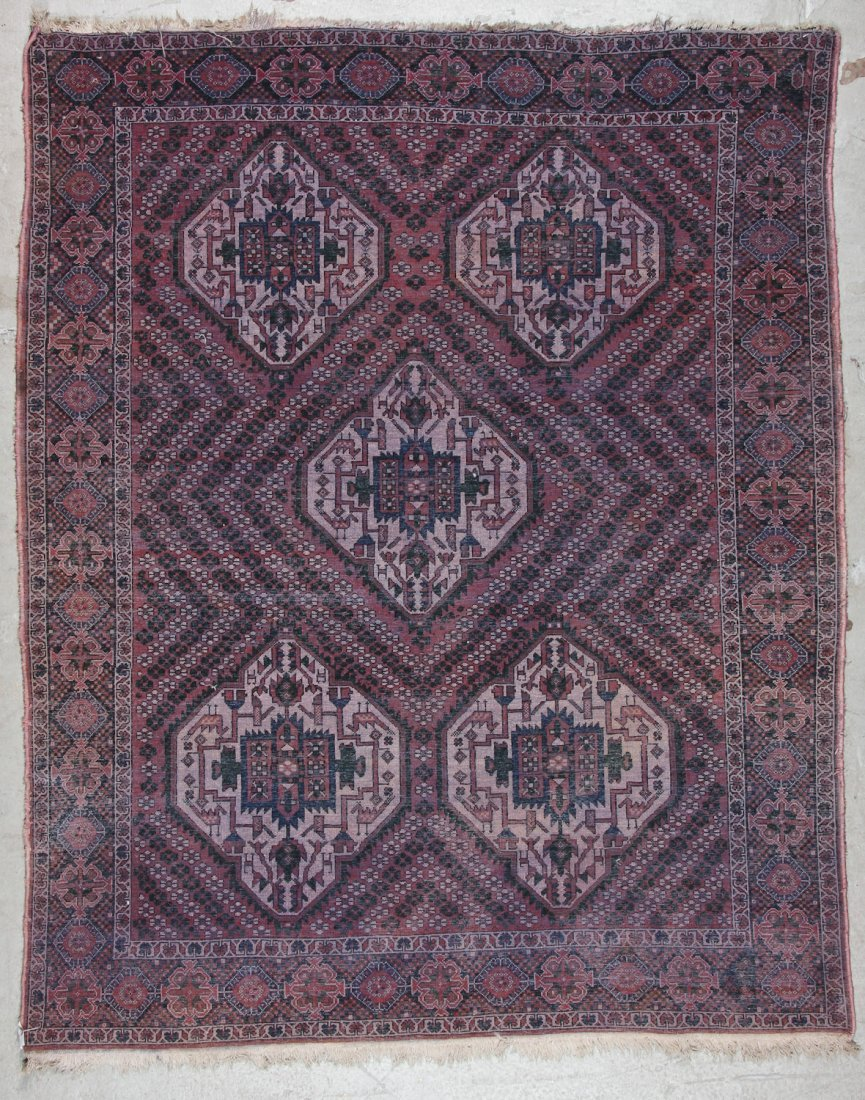 Semi-Antique Afshar Rug: 5'1'' x 6'3'' (155 x 191 cm) - 6