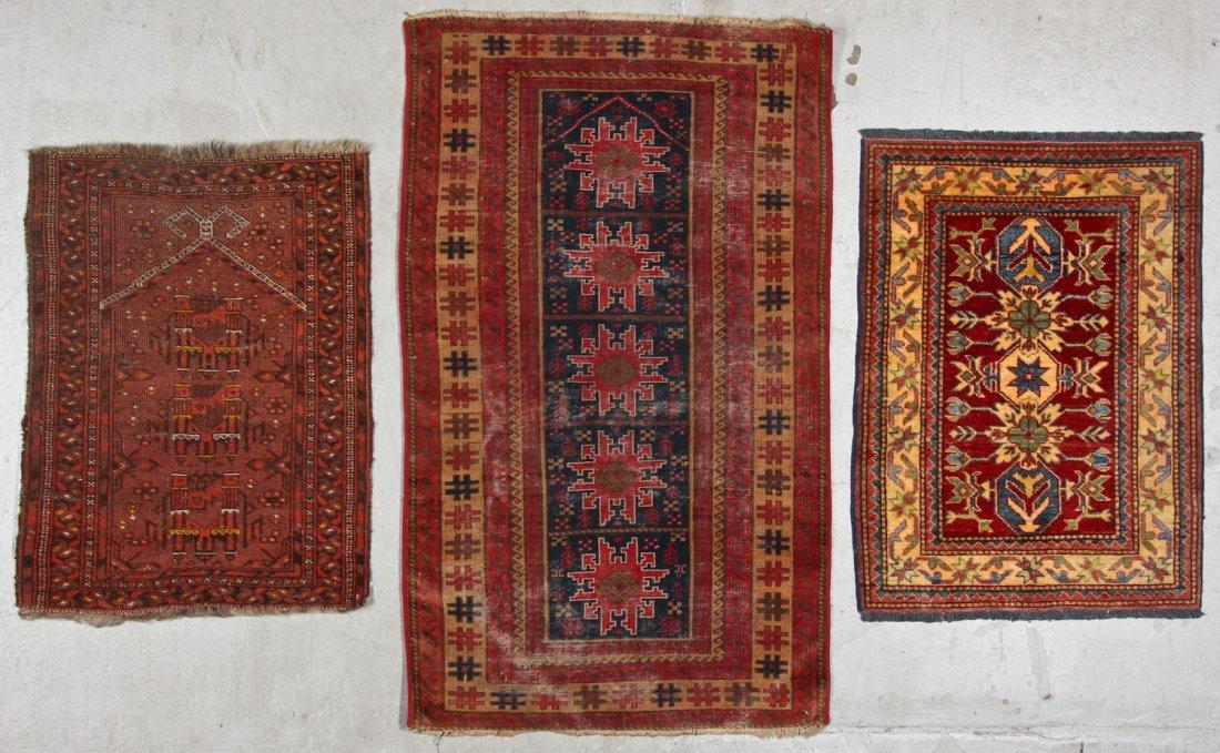 3 Semi-Antique/Vintage Afghan & Caucasian Rugs