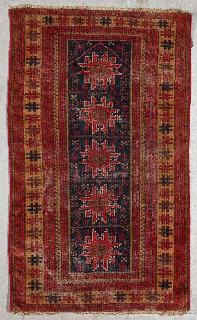 3 Semi-Antique/Vintage Afghan & Caucasian Rugs - 3