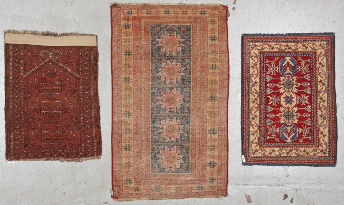 3 Semi-Antique/Vintage Afghan & Caucasian Rugs - 8