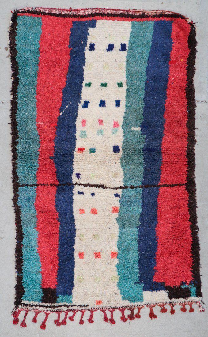 Vintage Moroccan Rug: 4'1'' x 6'8'' (124 x 203 cm)
