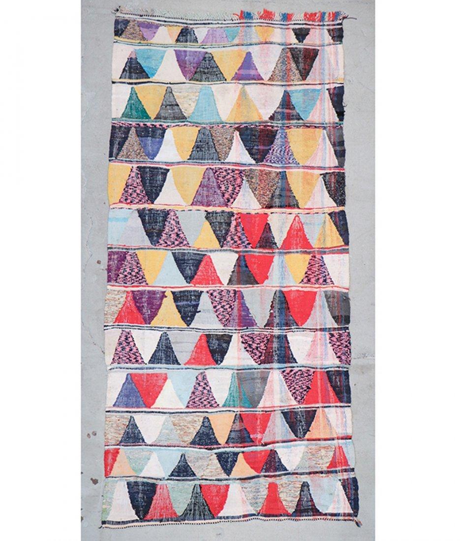 Vintage Moroccan Flatweave: 4'8'' x 9'11'' (142 x 302