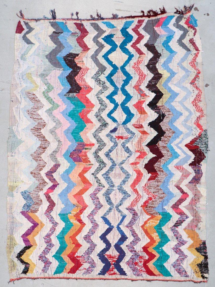 Vintage Moroccan Flatweave: 6'1'' x 8'10'' (185 x 269