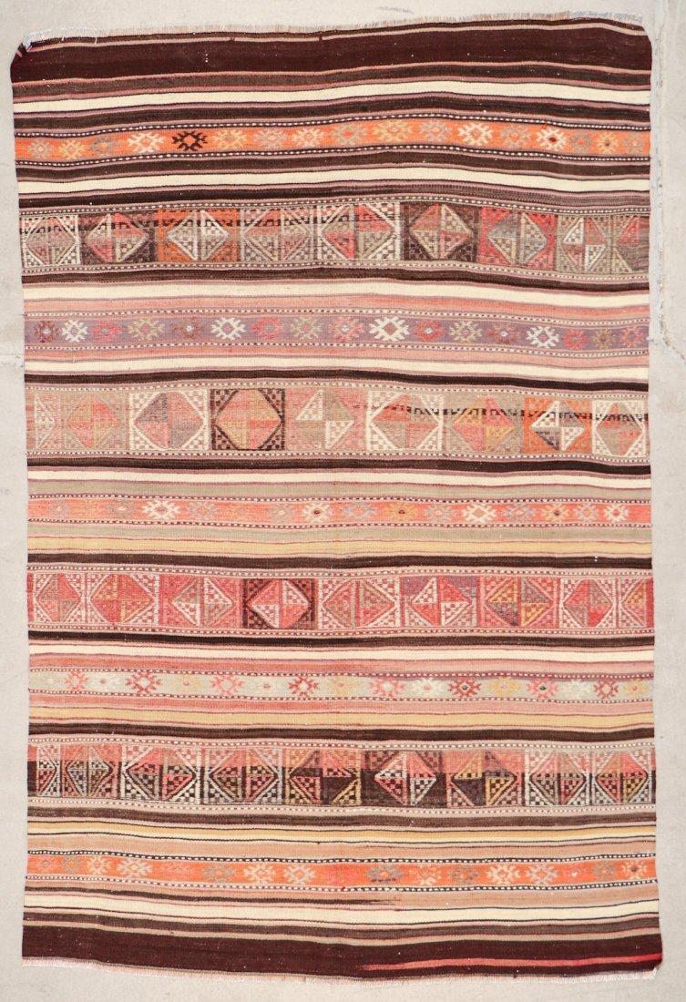 Semi-Antique Turkish Djidjim/Kilim: 4'10'' x 7'5'' (147