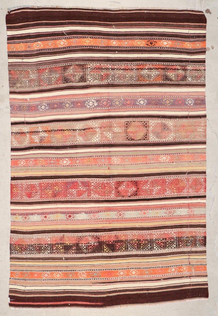 Semi-Antique Turkish Djidjim/Kilim: 4'10'' x 7'5'' (147 - 5