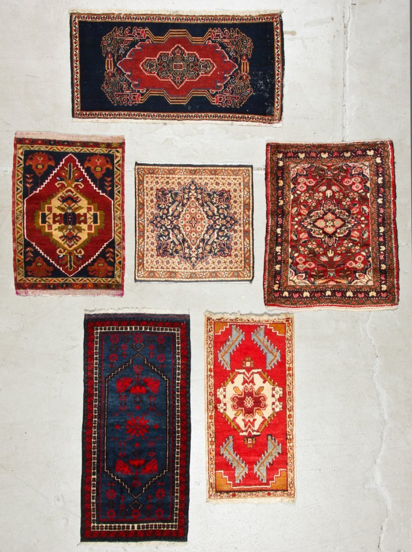 6 Vintage Persian and Turkish Small Rugs