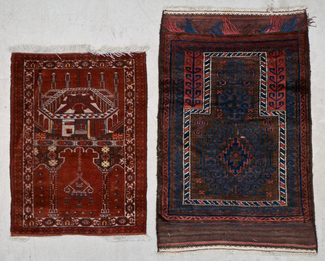 2 Semi-Antique Afghan and Beluch Prayer Rugs