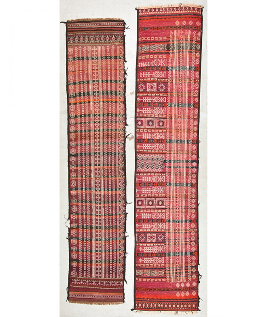 2 Antique Central Asian Kilim Runners