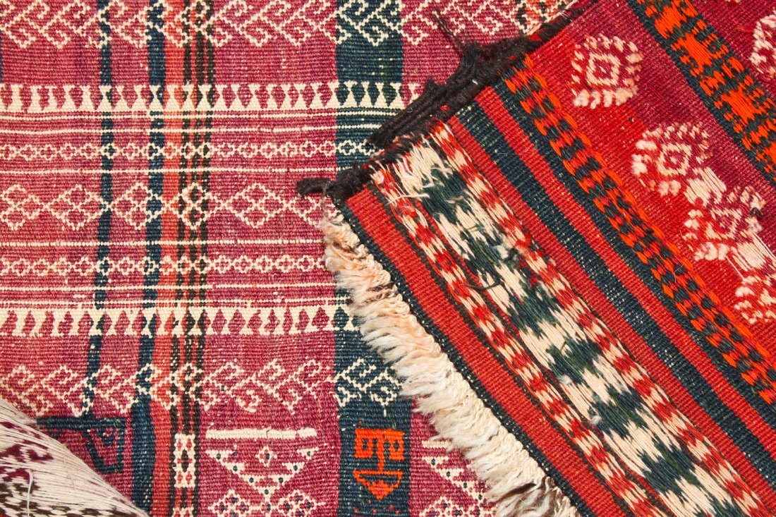 2 Antique Central Asian Kilim Runners - 5