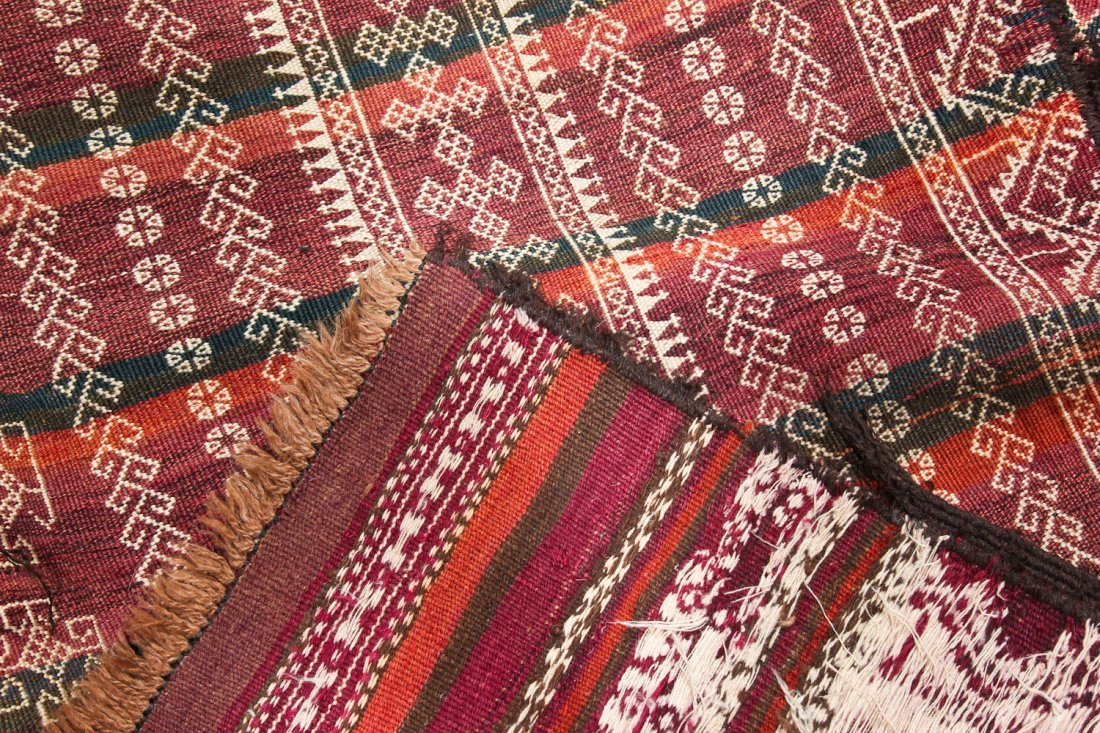 2 Antique Central Asian Kilim Runners - 6