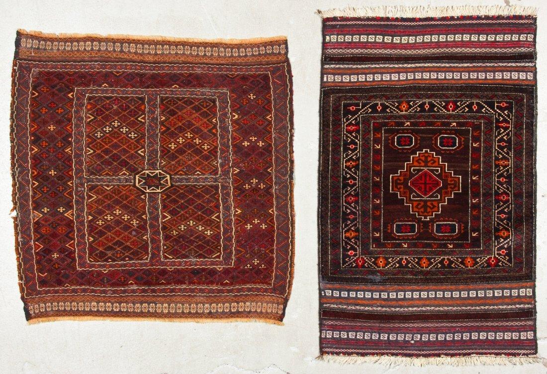 2 Vintage Afghan Mixed Weave Rugs