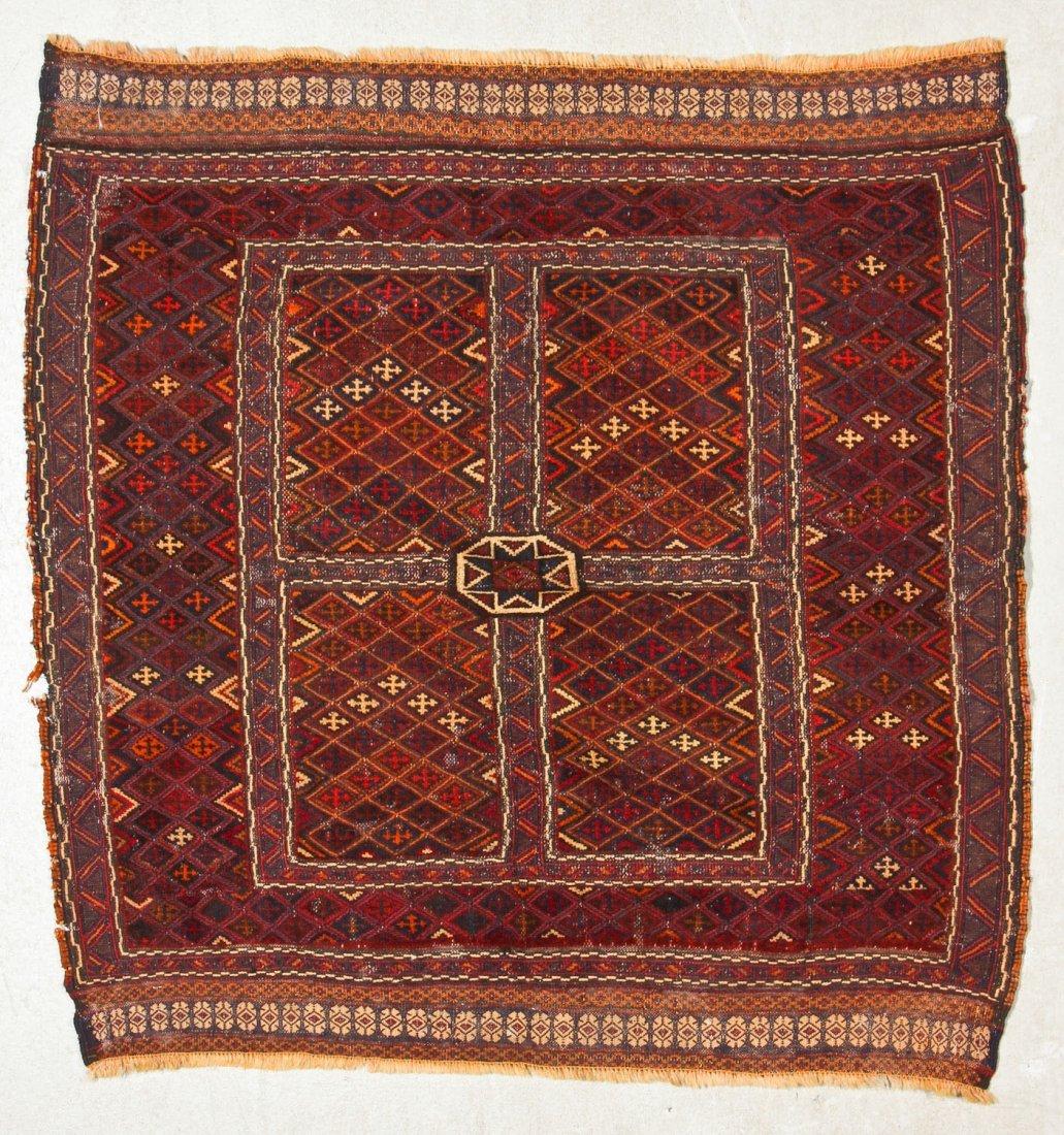 2 Vintage Afghan Mixed Weave Rugs - 2