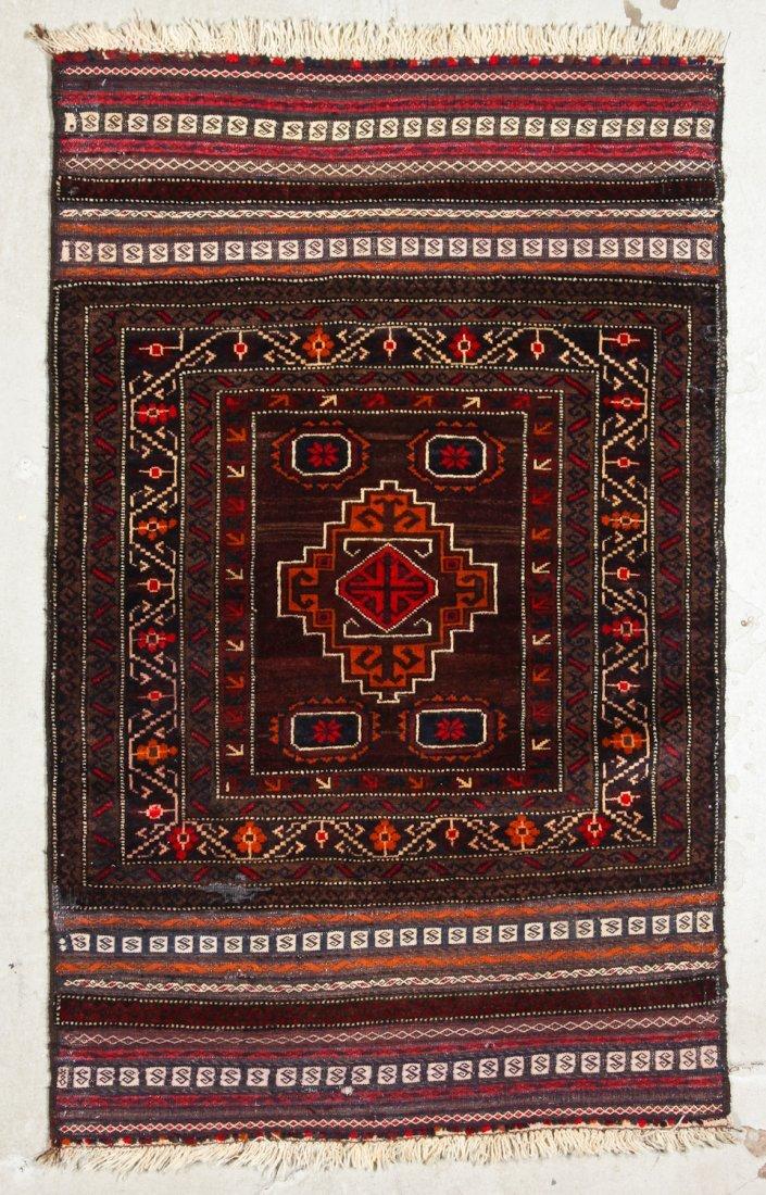 2 Vintage Afghan Mixed Weave Rugs - 3