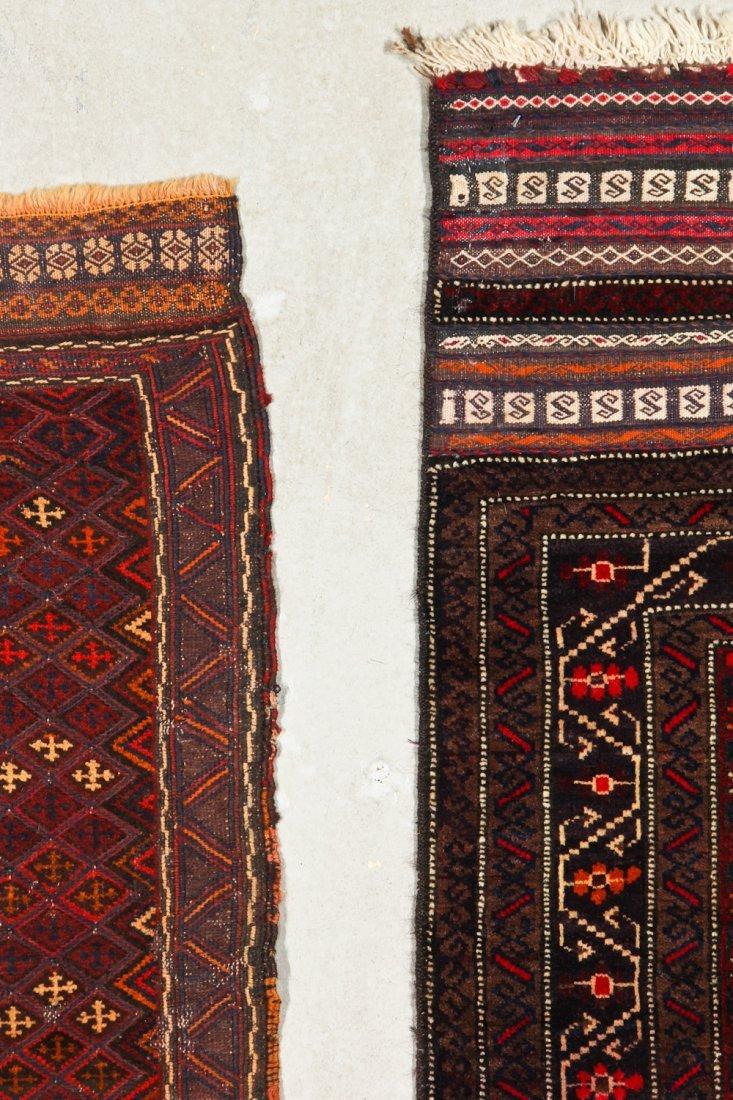 2 Vintage Afghan Mixed Weave Rugs - 4