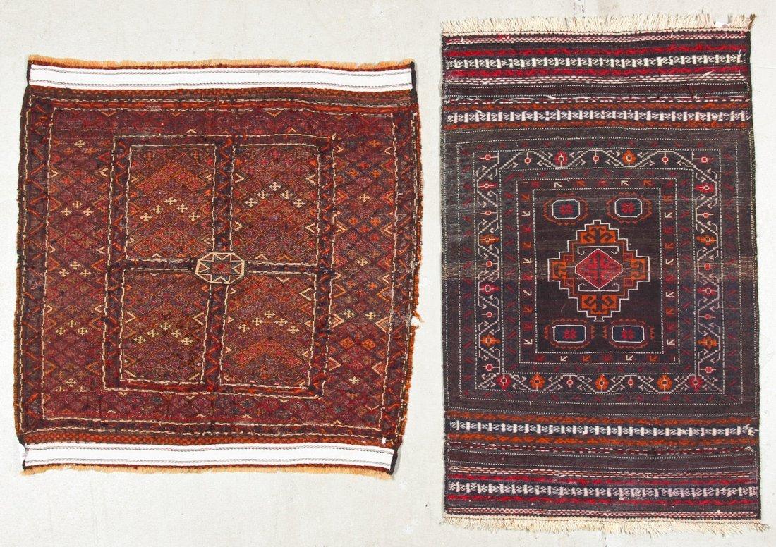 2 Vintage Afghan Mixed Weave Rugs - 9
