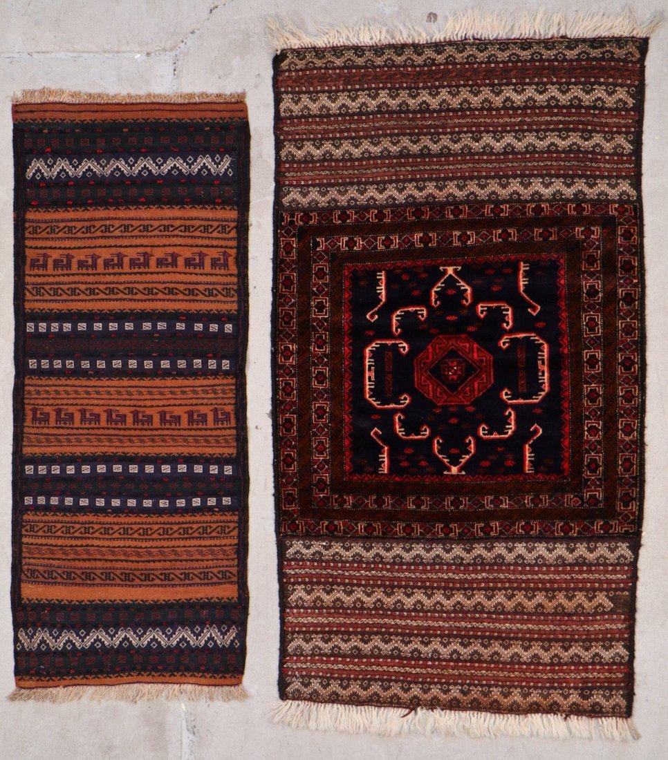 2 Vintage Mixed Weave Afghan Rugs