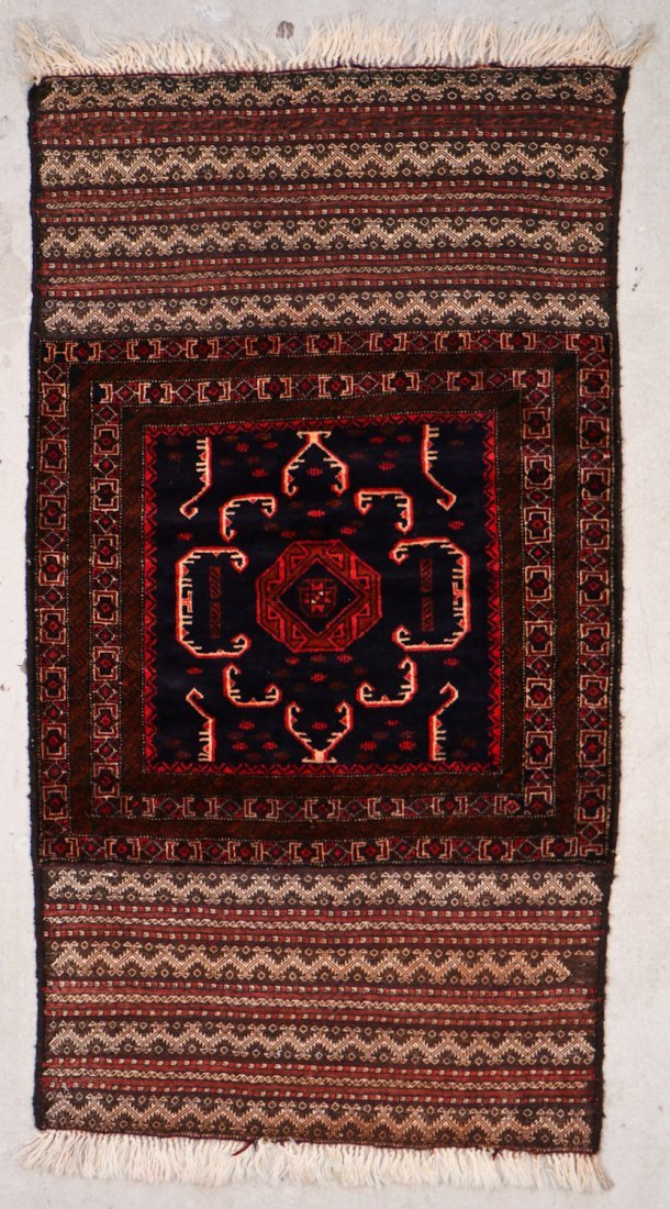2 Vintage Mixed Weave Afghan Rugs - 2